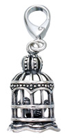 Zable Silver 3-D Bird Cage Charm