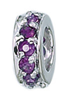 Zable Silver Amethyst CZ Spacer Bead