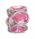 Zable Silver Bezel Set Pink CZ Bead