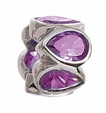 Zable Silver Bezel Set Purple CZ Bead