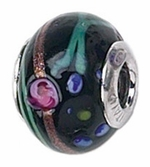 Zable Silver Black with Flowers Murano Glass Bead
