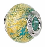 Zable Silver Blue and Gold Murano Glass Bead