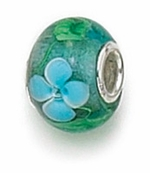 Zable Silver Blue and Green Murano Glass Bead