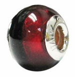 Zable Silver Brown and Red Murano Glass Bead