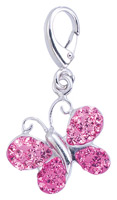 Zable Silver Butterfly Pink Crystals Bead Charm