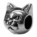 Zable Silver Cat Face 2 Sided Bead