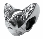 Zable Silver Chihuahua 2 Sided Bead