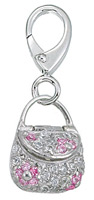 Zable Silver Clear & Pink CZ Purse Bead Charm