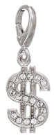 Zable Silver Crystals Dollar Sign Charm