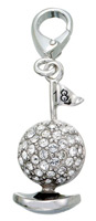 Zable Silver Crystals Golf Ball Charm