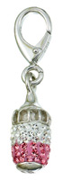 Zable Silver CZ Baby Bottle Bead Charm