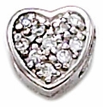 Zable Silver CZ  Heart Bead