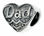 Zable Silver Dad Heart Bead