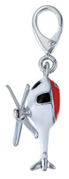 Zable Silver Enamel Helicopter Charm