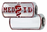 Zable Silver Engraveable Medical ID Bead