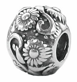 Zable Silver Flower Vine Bead