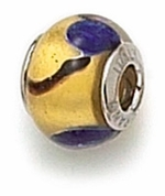 Zable Silver Gold and Blue  Murano Glass Bead