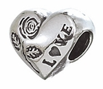 Zable Silver Heart with Rose Bead