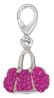 Zable Silver Hot Pink CZ Crystal Purse Charm