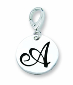 Zable Silver Initial A Disc Charm
