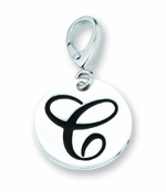 Zable Silver Initial C Disc Charm