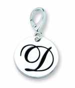 Zable Silver Initial D Disc Charm