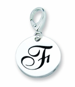 Zable Silver Initial F Disc Charm