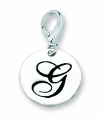 Zable Silver Initial G Disc Charm