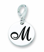 Zable Silver Initial M Disc Charm