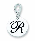 Zable Silver Initial R Disc Charm