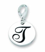 Zable Silver Initial T Disc Charm