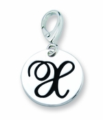 Zable Silver Initial X Disc Charm