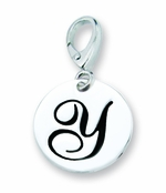 Zable Silver Initial Y Disc Charm