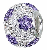 Zable Silver Light Purple CZ Flower Bead