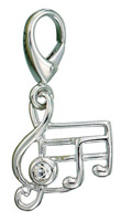 Zable Silver Music Notes Charm
