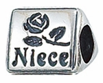 Zable Silver Niece Rose Bead
