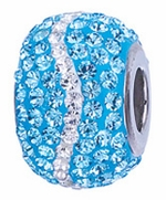 Zable Silver Ocean Blue and White CZ Spacer Bead