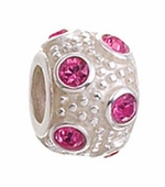 Zable Silver October Crystal Ball Bead