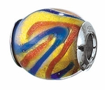 Zable Silver Oval Blue Red Swirls Spacer Bead