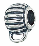 Zable Silver Oval Fluted Charm Carrier