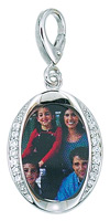 Zable Silver Oval Picture Frame Bead Charm