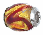 Zable Silver Oval Red Swirls Spacer Bead