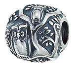 Zable Silver Owls in a Tree Bead