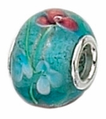 Zable Silver Pink and Blue Murano Glass Bead