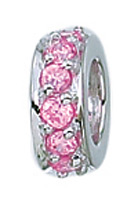 Zable Silver Pink CZ Spacer Bead