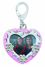 Zable Silver Pink Enamel Heart Picture Frame Bead Charm