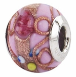 Zable Silver Pink Floral Murano Glass Bead