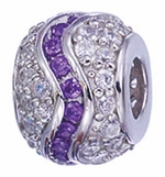 Zable Silver Purple and Clear CZ Swirly Spacer Bead