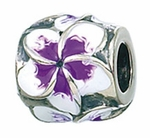 Zable Silver Purple Plumeria Flower Bead