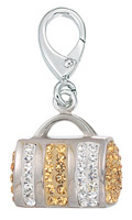 Zable Silver Purse Gold White Crystals Bead Charm